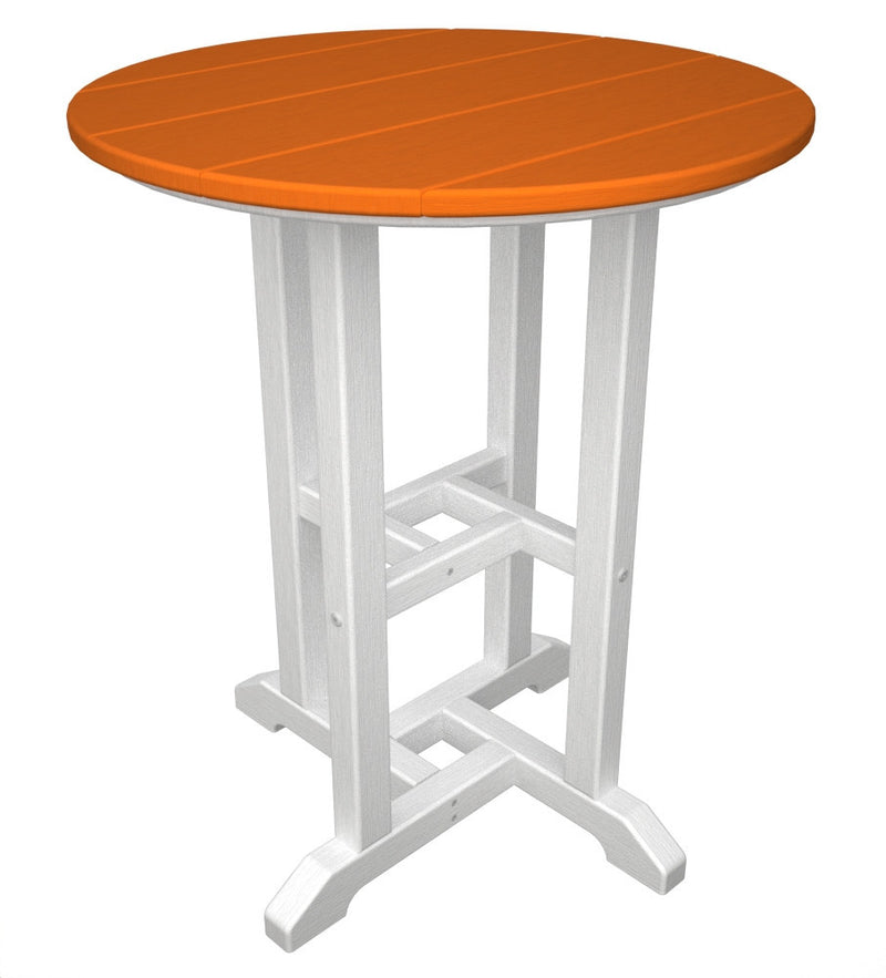 RT224FWHTA Contempo 24inch Round Dining Table in White and Tangerine