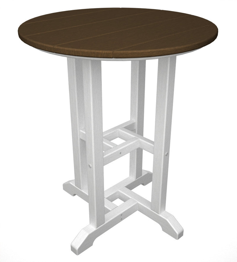 RT224FWHTE Contempo 24inch Round Dining Table in White and Teak
