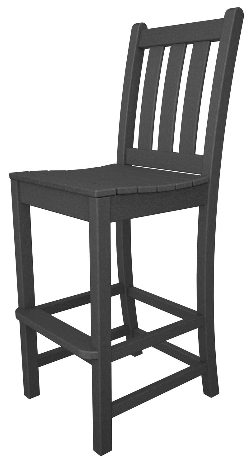 TGD102GY Traditional Garden Bar Side Chair in Slate Grey