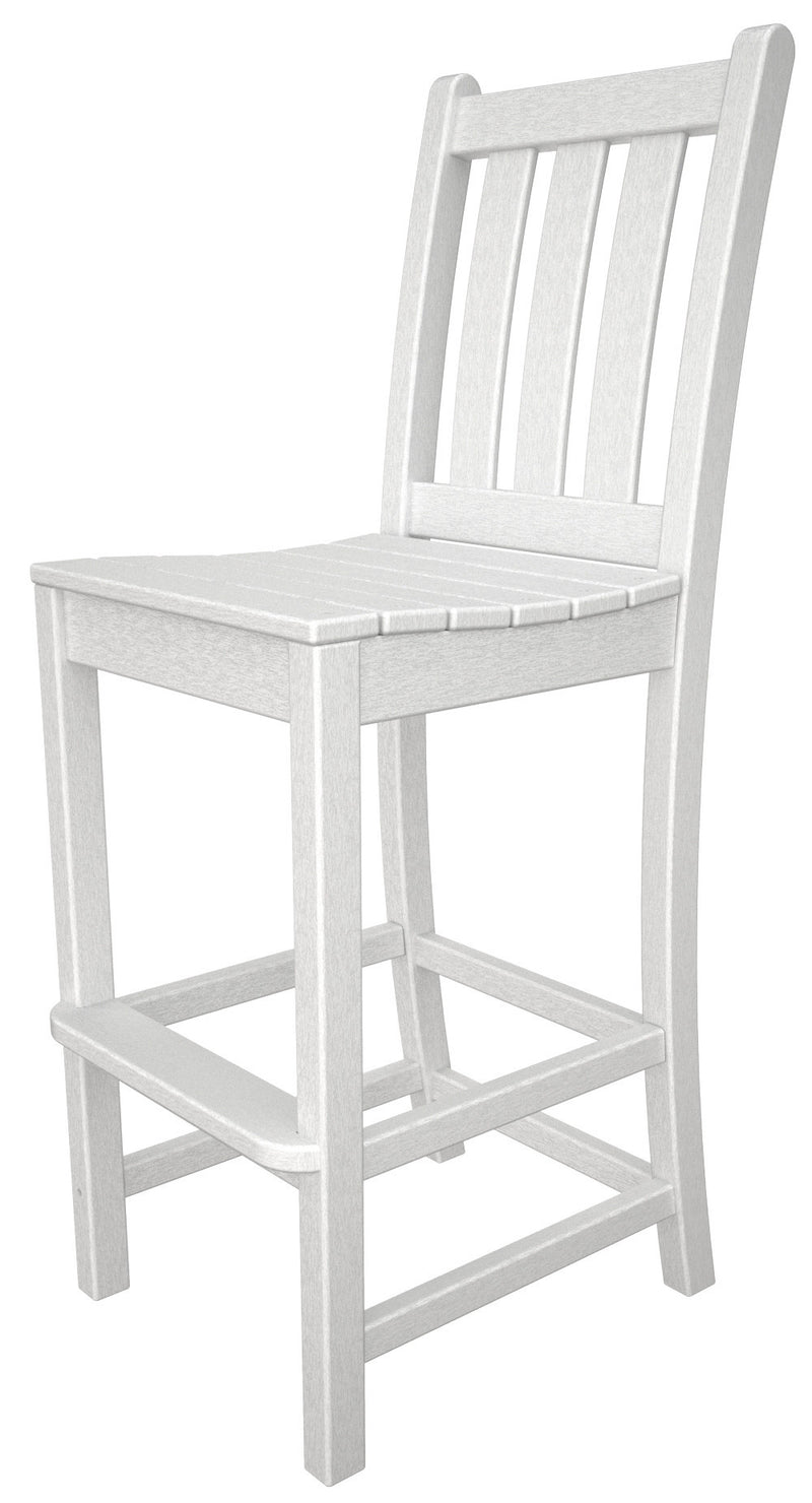 TGD102WH Traditional Garden Bar Side Chair in White