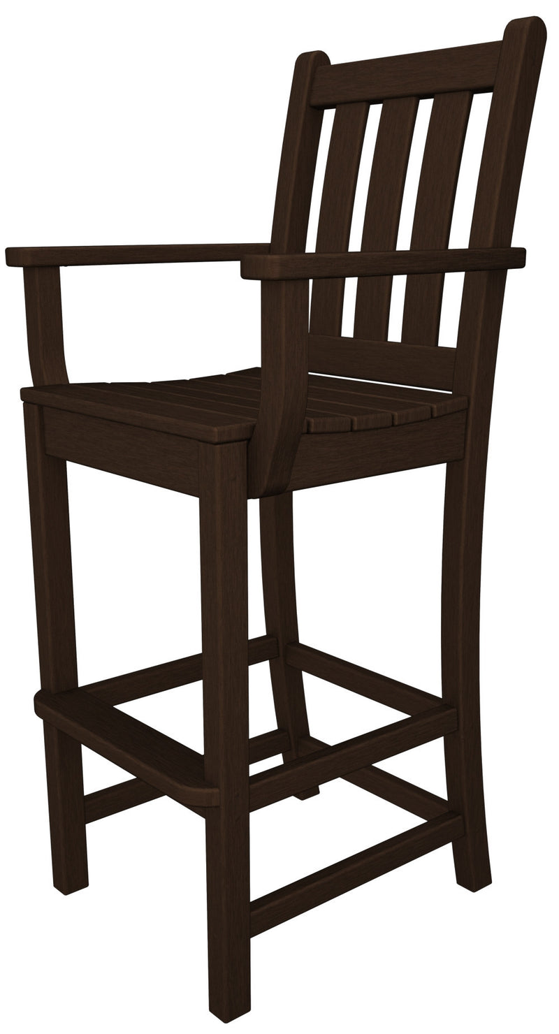 TGD202MA Traditional Garden Bar Arm Chair in Mahogany