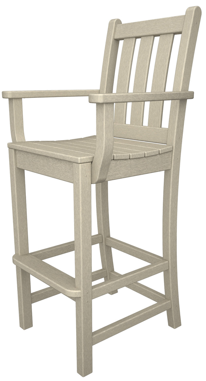 TGD202SA Traditional Garden Bar Arm Chair in Sand