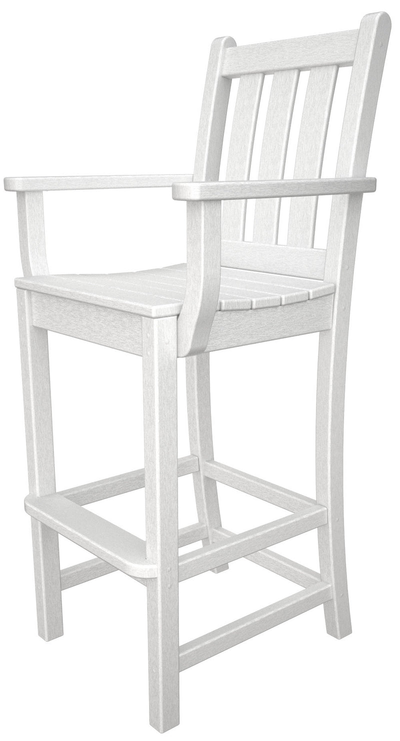 TGD202WH Traditional Garden Bar Arm Chair in White