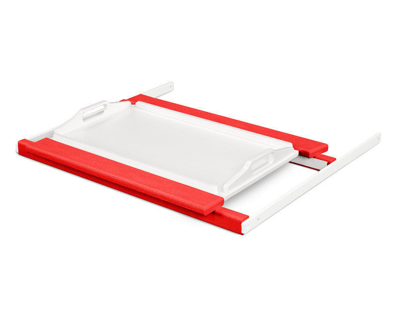 TT22SRMWH Shell Tray Table in Sunset Red and White