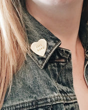 Girl Gang Handstamped Heart Pin