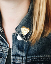 GRL PWR Handstamped Heart Pin