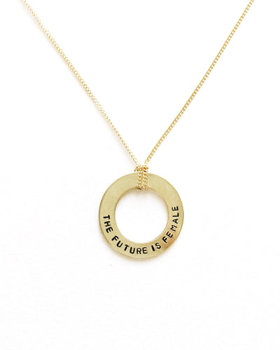 The Future Is Female Handstamped Washer Necklace