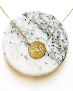 Mountains Handstamped Circle Necklace