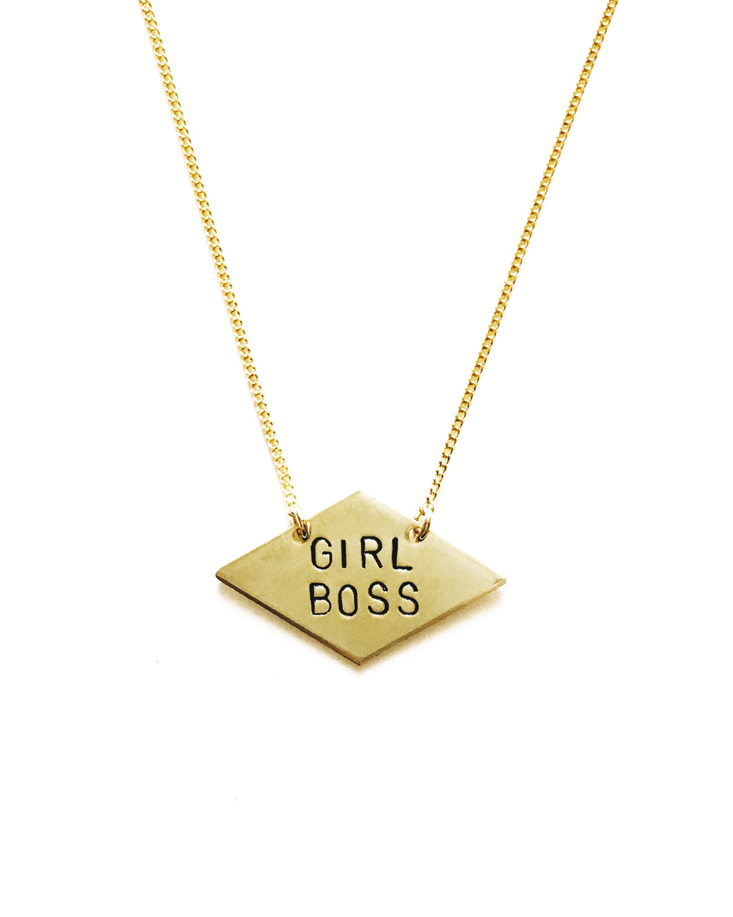 Girl Boss Handstamped Diamond Necklace