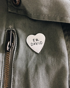 Ew, David Handstamped Heart Pin