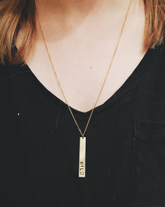 Wild Handstamped Vertical Bar Necklace