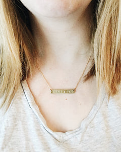 Yasss Handstamped Bar Necklace