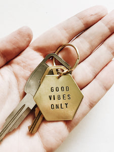 Good Vibes Only Handstamped Hexagon Keychain