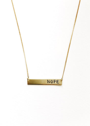 Nope Handstamped Bar Necklace