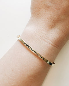 Unfu*kwithable Handstamped Skinny Cuff