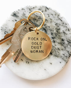 Rock On Gold Dust Woman Handstamped Keychain