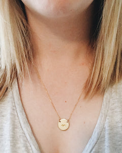 Infinity Symbol Handstamped Circle Necklace