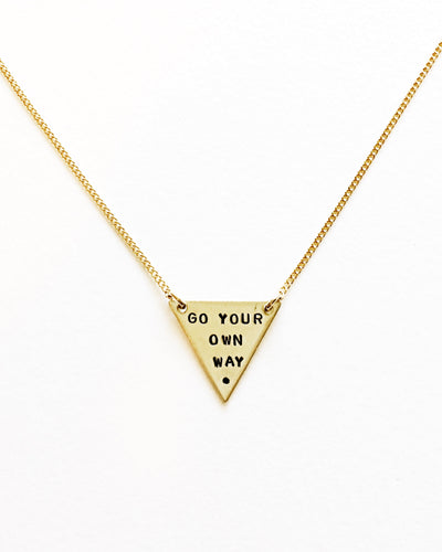 Go Your Own Way Handstamped Tiny Triangle Necklace