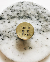 Good God Lemon Handstamped Circle Pin