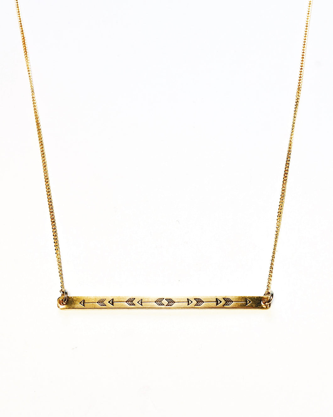 Arrow Handstamped Skinny Bar Necklace