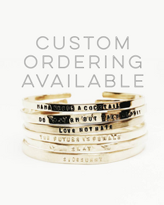 Bridesmaid Personalized Handstamped Skinny Cuffs Set of Five