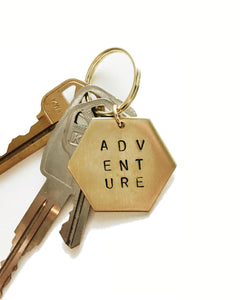 Adventure Handstamped Hexagon Keychain