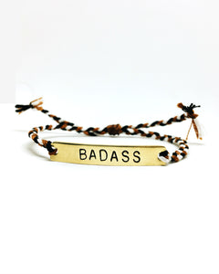 Badass Handstamped Bar Friendship Bracelet