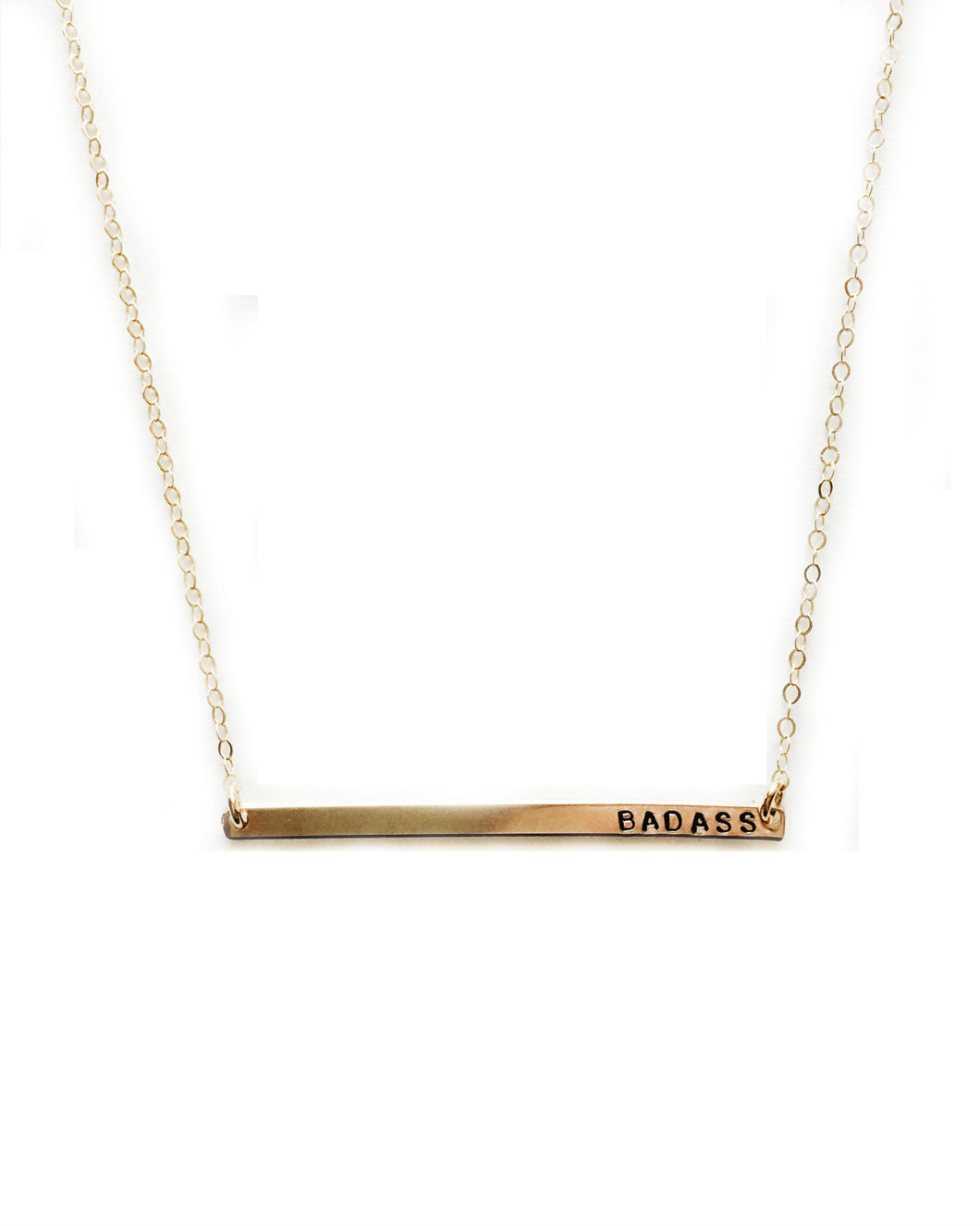 Badass Handstamped Skinny Bar Necklace