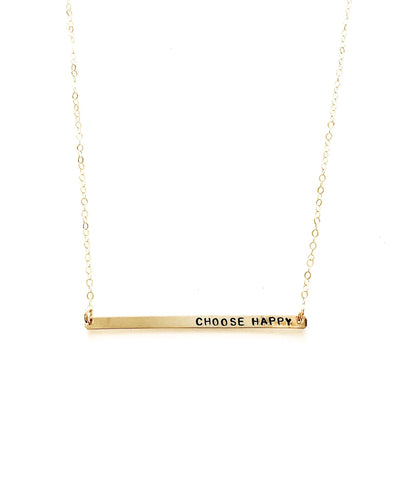 Choose Happy Handstamped Skinny Bar Necklace