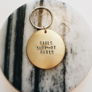 Girls Support Girls Handstamped Keychain