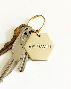 Ew, David Handstamped Hexagon Keychain