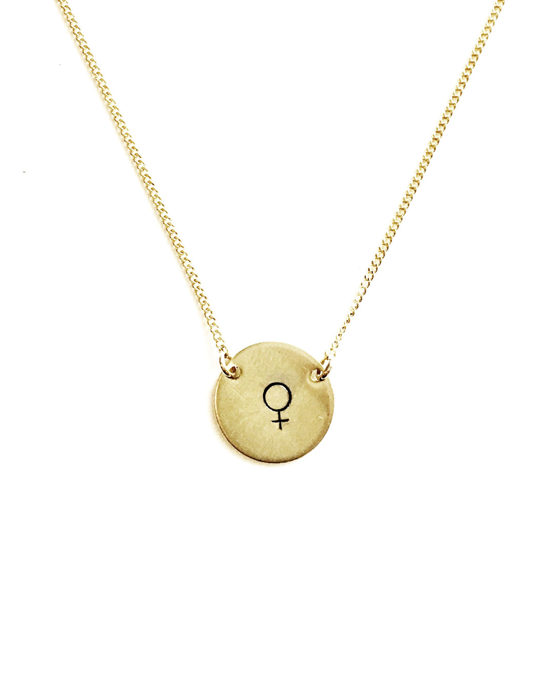 Female Symbol Handstamped Circle Necklace