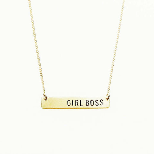 Girl Boss Handstamped Bar Necklace