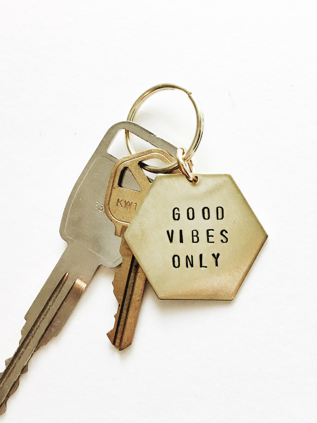 Personalized Handstamped Hexagon Keychain
