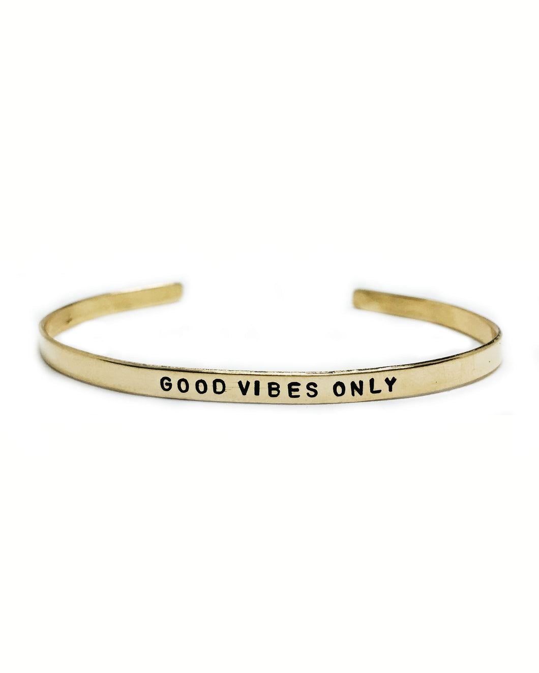 Good Vibes Only Handstamped Skinny Cuff