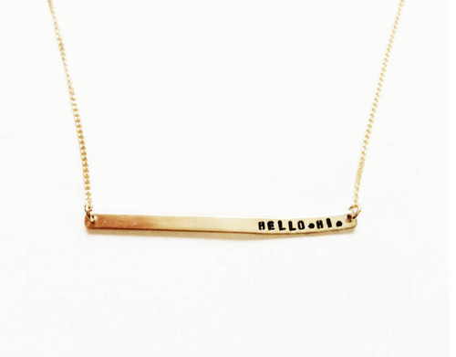 Hello. Hi Handstamped Skinny Bar Necklace