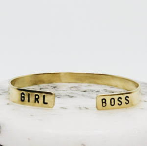 Girl Boss Open Ended Handstamped Cuff