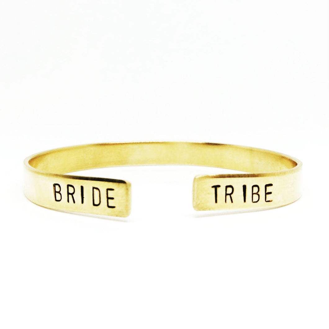 Bride Tribe Open Ended Handstamped Cuff
