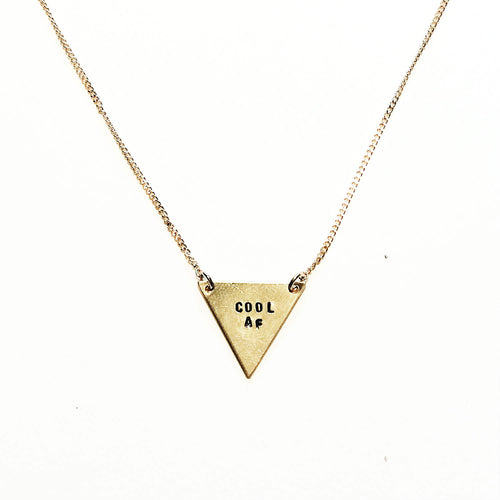 Cool AF Handstamped Tiny Triangle Necklace