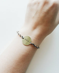 Greek Sororoty Handstamped Circle Friendship Braided Bracelet