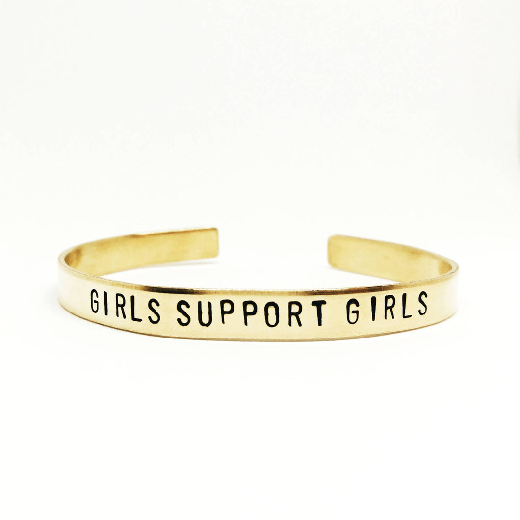 Girls Support Girls Handstamped Cuff
