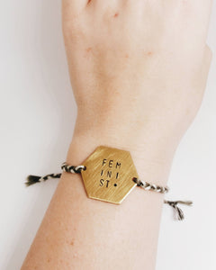 Feminist Handstamped Hexagon Friendship Braided Bracelet