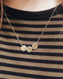 Greek Sorority Handstamped Tiny Circles Necklace