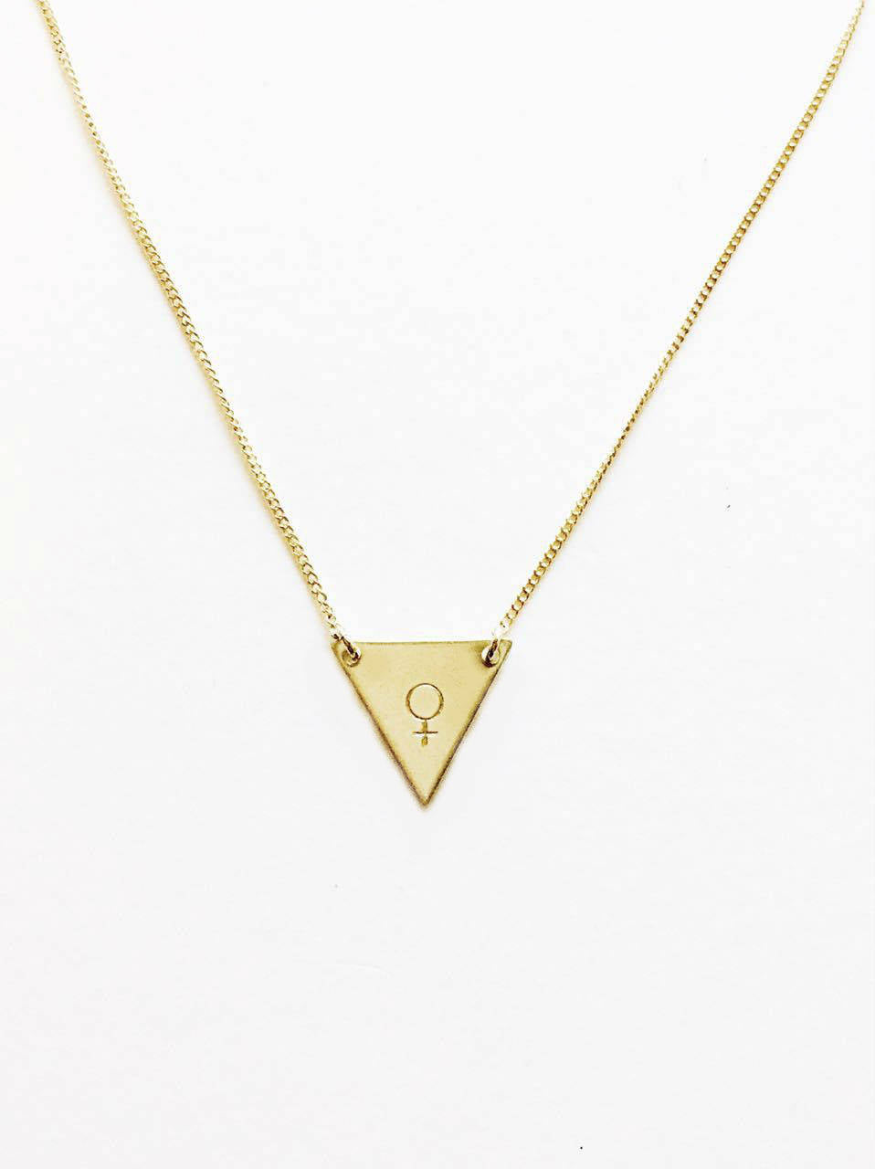 Female Symbol Handstamped Tiny Triangle Necklace