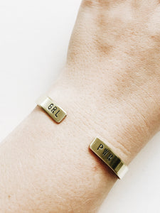 GRL PWR Open Ended Handstamped Cuff