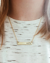 Vote Handstamped Bar Necklace