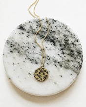 Plant Leaves Mosaic Handstamped Circle Necklace