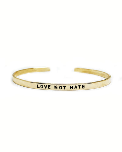 Love Not Hate Handstamped Skinny Cuff