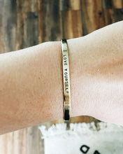 Love Yourself Handstamped Skinny Cuff