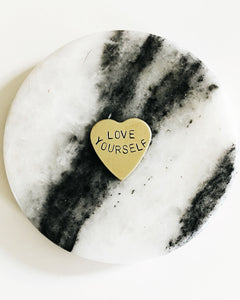 Love Yourself Handstamped Heart Pin